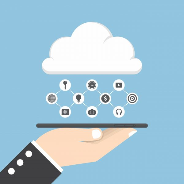 Businessman hand holding tablet and share data on cloud, cloud computing concept