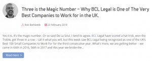 A blog post from BCL Legal recruitment